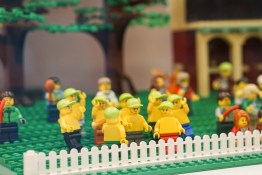 Topless group in LEGO display at Myer
