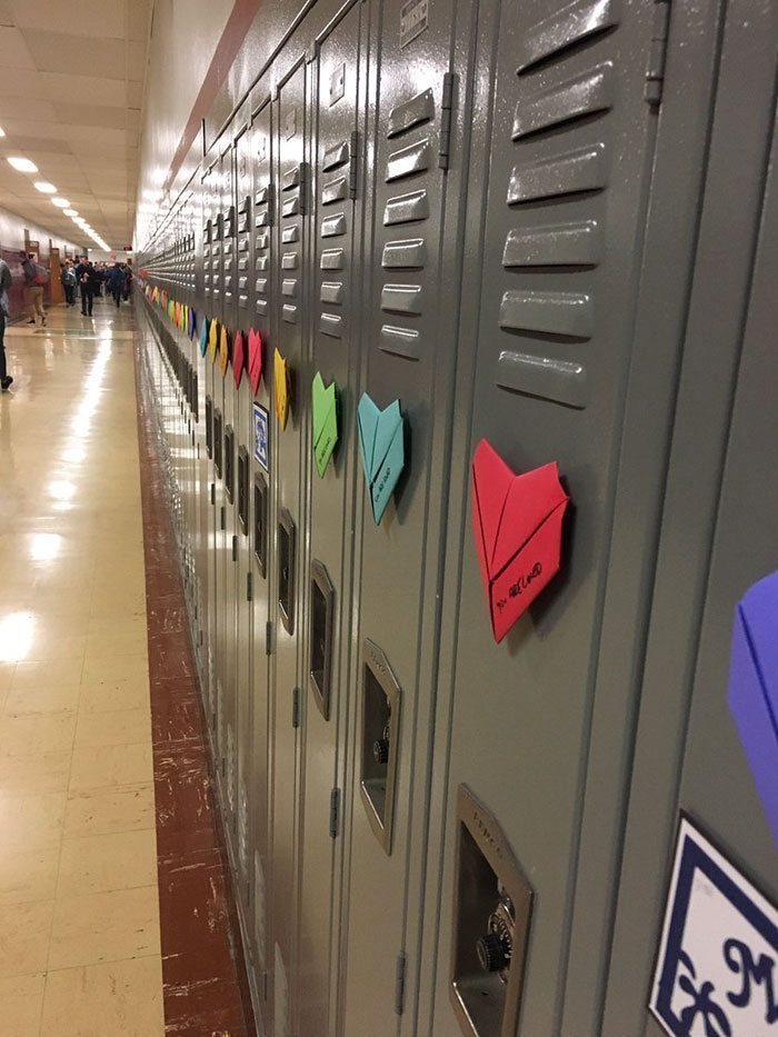origami-locker-hearts-valentines-day-troy-high-school-3