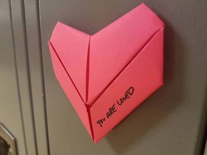 origami-locker-hearts-valentines-day-troy-high-school-1