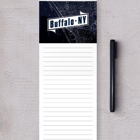 A lined notepad with the buffalo map and a banner reading buffalo, ny.