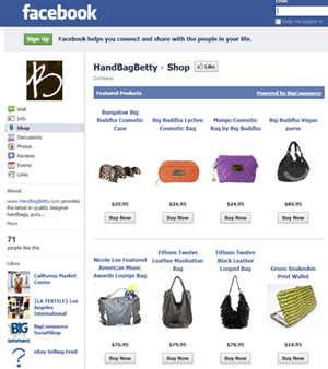 Selling products on facebook business pages with an online for Website to sell furniture