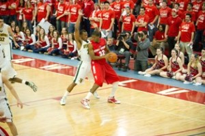 Lesego Goba in his time as a star player for the Stony Brook University Seawolves men's basketball team. Photo via Stony Brook University Athletics.