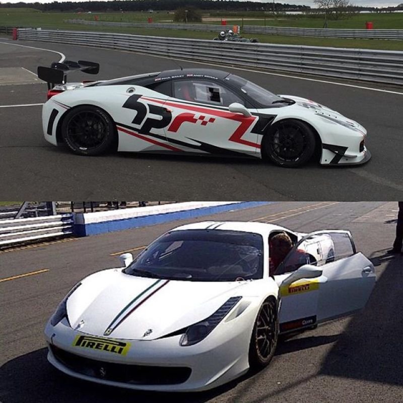 Testing the 458 today. A picture from today and one from 2011 when we first took delivery. #sbraceengineering #ferrari #458 #458challenge #horsepowerracing
