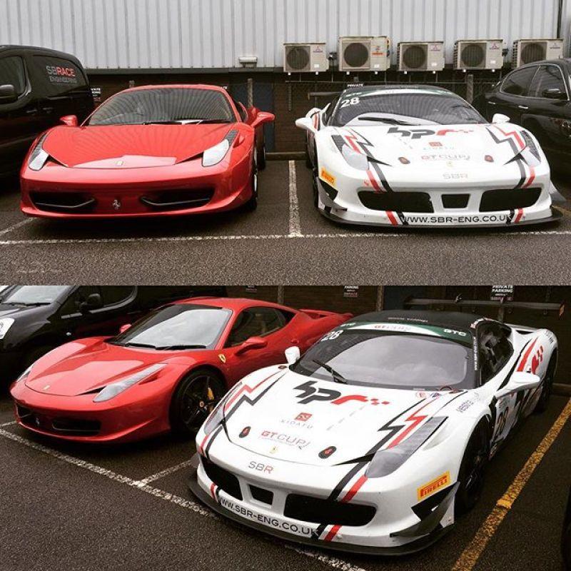 Two very different 458's!#ferrari #458 #458challenge #458italia #sbr #sbraceengineering