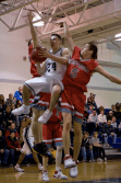 Pizzichillo splits a double-team in midair