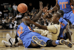 Hustling for a loose ball