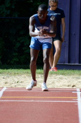 """Lawson focuses before his jump of 43' 4"""" at the 2011 County Championships"""