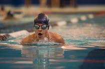 Rebecca Crane reset the school record in the 50 free in the first girls' swim season in 12 years (PC: Bruce Jeffrey)