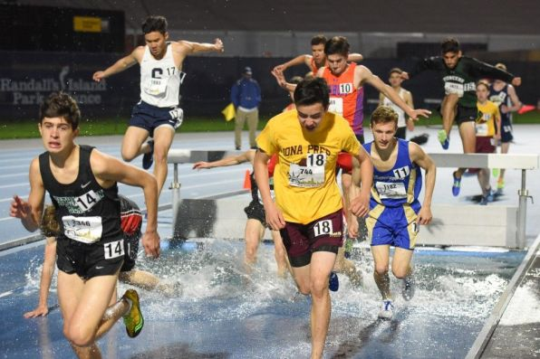 Louis Wang (left) in the 2000m steeplechase