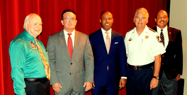 On hand for the ceremony were, from left, Chalmette High Principal Wayne Warner, District Attorney Perry Nicosia, U.S. Attorney Kenneth Polite, Sheriff James Pohlmann and Quinn Smith of the U.S. Attorney's Office.