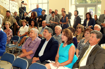 A crowd filled the lobby of the Courthouse for the dedication ceremony.