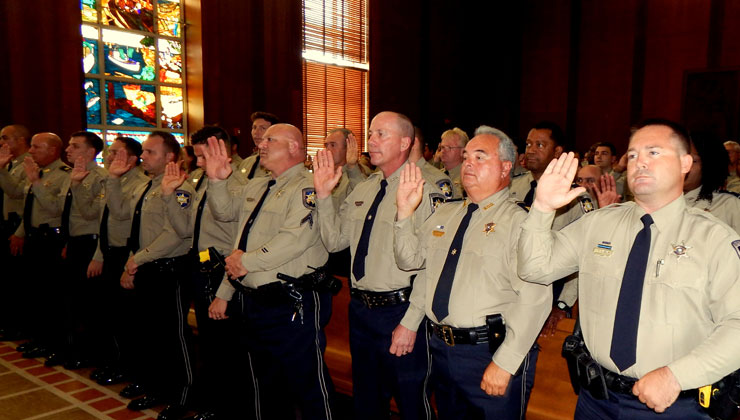 Officers take their oath of office for the new term.