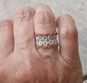 Challenge Accepted - Reader Submission for Weekly Challenge #6 - Yarnplayer's Remembrance Ring tatted by Marie McCurry. This one was done with two strands of metallic, sewing thread. The ring is a size 5.