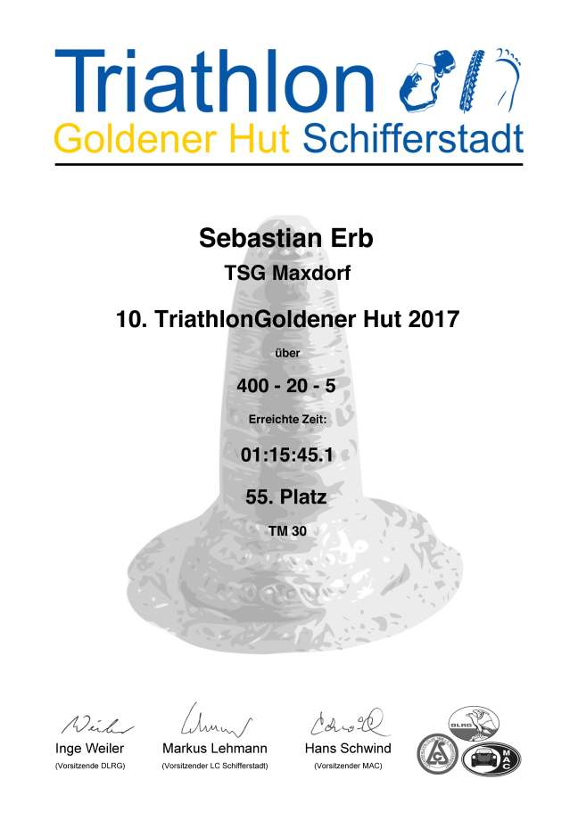 Urkunde Triathlon Goldener Hut Schifferstadt 2017