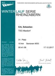 Urkunde Winterlaufserie Rheinzabern Dezember 2017 - 10 km