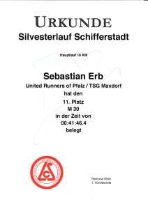 Urkunde Silvesterlauf Schifferstadt 2017