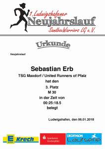 Urkunde Neujahrslauf Ludwigshafen 2018