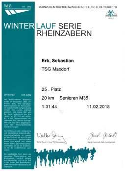 Winterlaufserie Rheinzabern 2017/2018 20km
