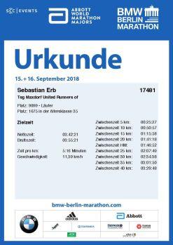 Urkunde Berlin Marathon 2018