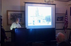 Richard Perry presenting his drawing of the apostolic college at at Santa Cruz de Querétaro at the Westerners meeting April 4. Photo by Anne Petersen.