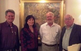 Jeffrey Becom, Julianne Burton-Carvajal, Richard Perry and William MacKinnon at the Santa Barbara Club, April 4. Photo by Anne Petersen.