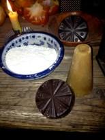 Piloncillo cone, masa harina, and an Ibarra chocolate disk. Photo by Brittany Avila.