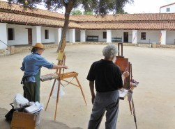 Students begin to paint Casa de la Guerra, using inspiration from the exhibit. Photo by Anne Petersen.