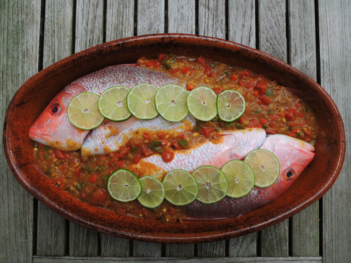 CARIBBEAN BAKED WHOLE RED SNAPPER WITH RED CURRY SAUCE