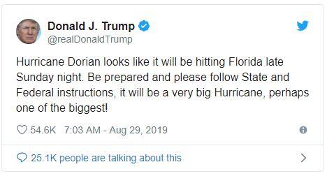 dorian trump tweet