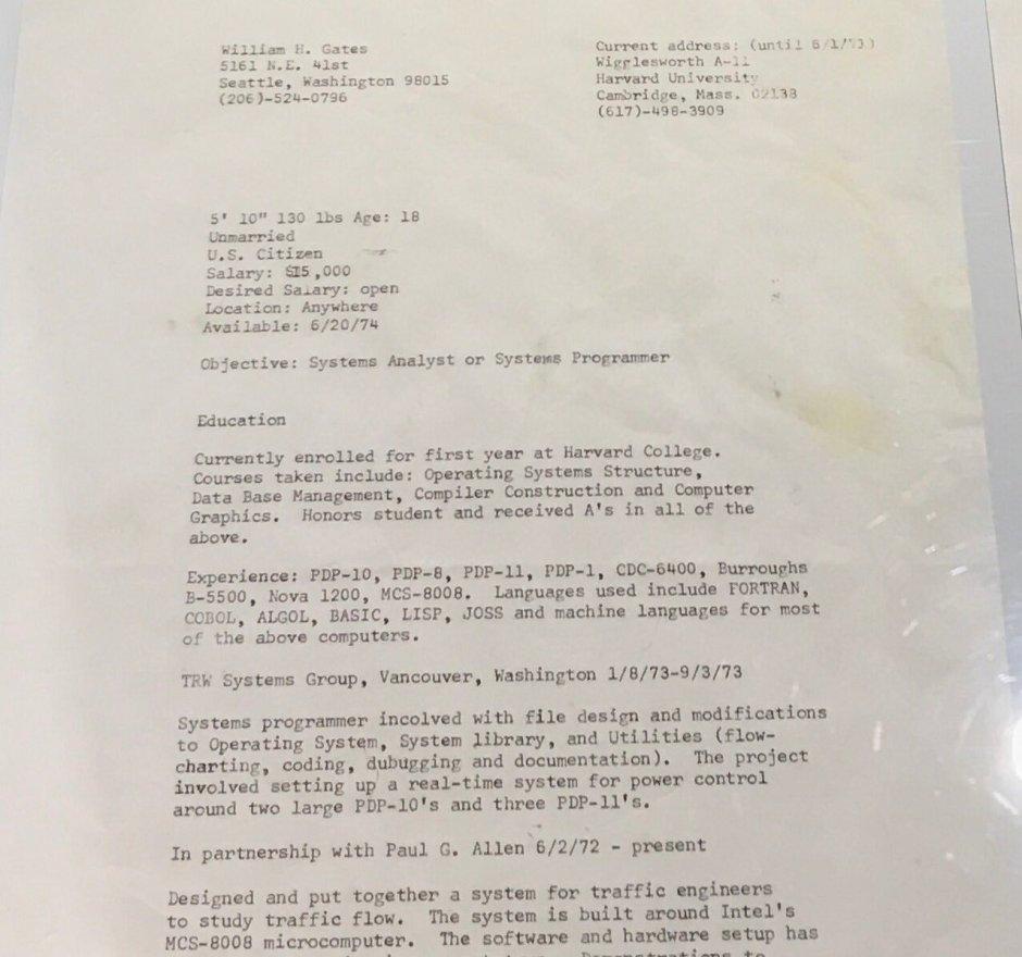 Mira el currículum de Bill Gates desde 1974, cuando ganaba 15.000 ...