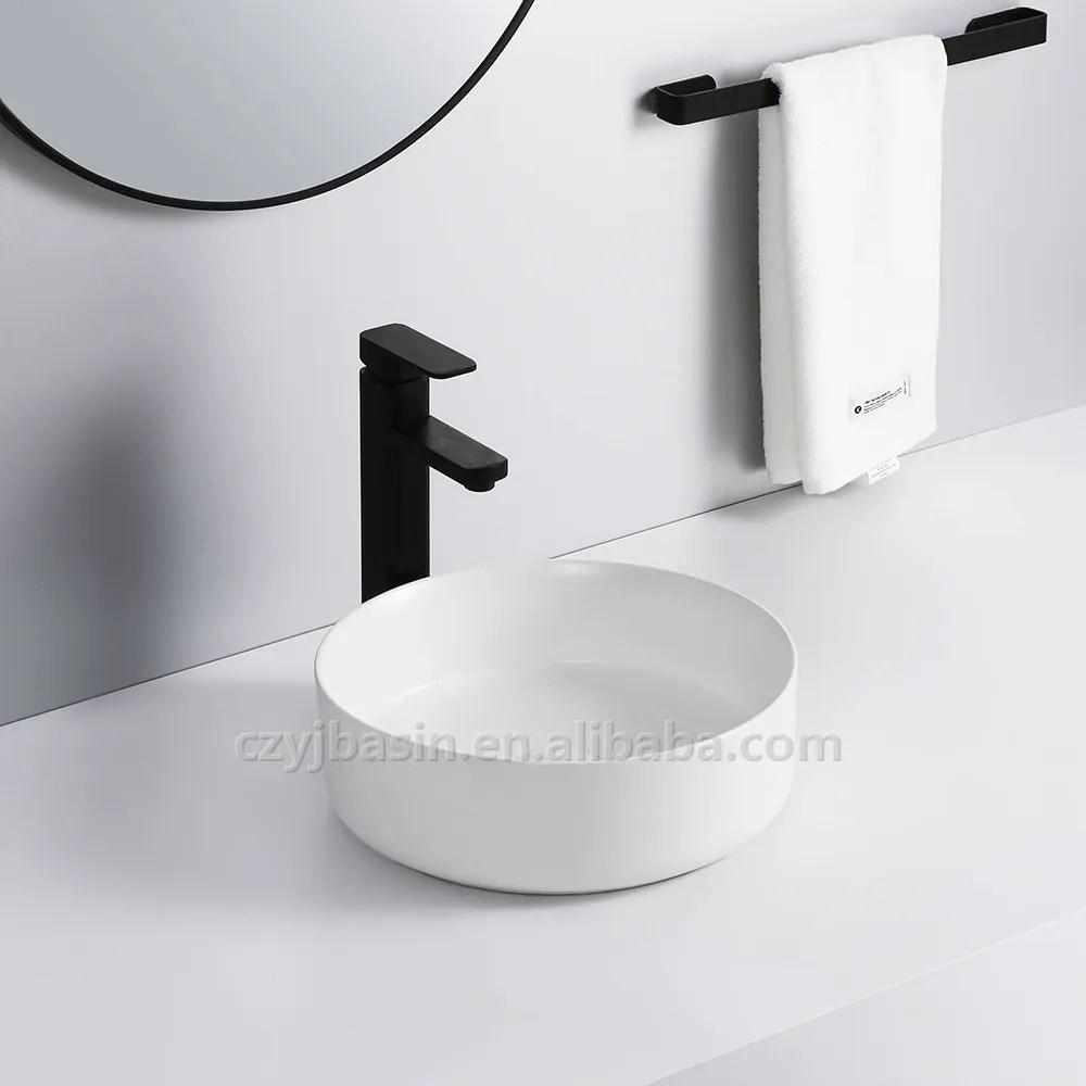 sanitary ware bathroom round matte white countertop glazed handmade sink ceramic above counter basin buy above counter basin round wash
