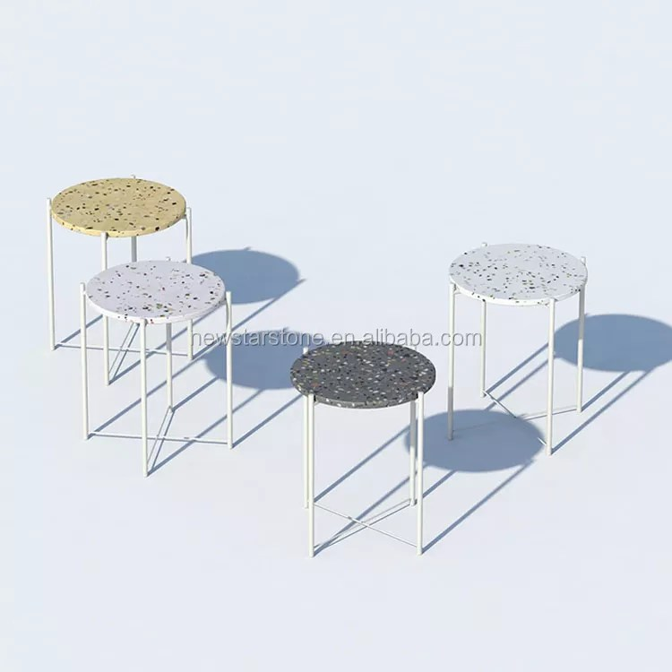 most popular new design round terrazzo coffee table top with solid metal table frame leg for living room furniture buy terrazzo table tops round