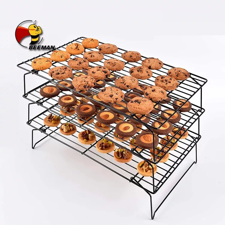 beeman non stick coating 3 tier collapsible bakery cookie cake bread baking cooling wire rack buy cooling rack baking rack cookie cooling rack