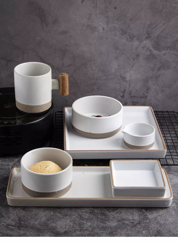korean country style sandy clay white dinnerware set home hotel restaurant tableware set and microwave safe plates buy restaurant plate