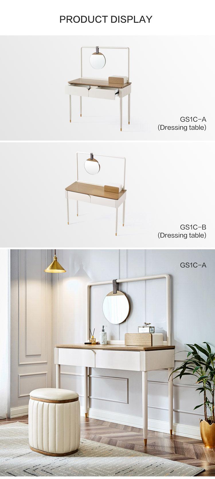 3 7 8 Drawers Wide Wooden Luxury Silver Desk Hair Make Up Mirror Chest Dresser Set For Bedroom