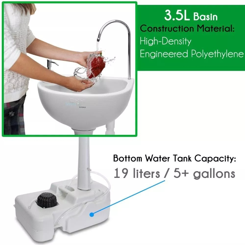 portable camping sink with towel holder soap dispenser 19l water capacity hand wash basin stand w rolling wheels buy portable camping sink with