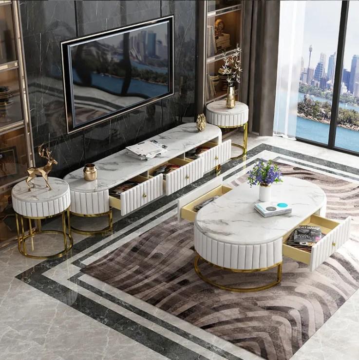 lumiere de luxe en acier inoxydable table basse meuble tv combinaison complete petit appartement marbre table basse armoire de plancher buy