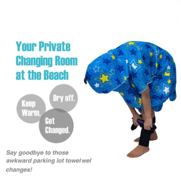Promotional customized microfiber poncho sand free hooded bath towel  for adults