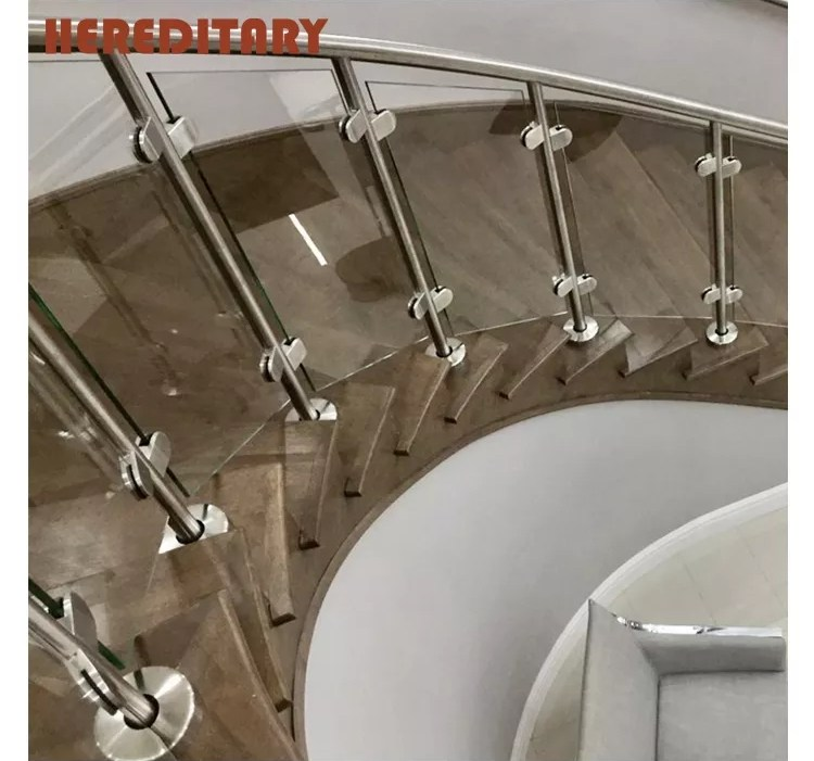 Tempered Glass Railing Solid Wooden Hand Railing Banister For | Glass Hand Railing Design | Fancy | Street Railing | Commercial | Outdoor | Glass Etching