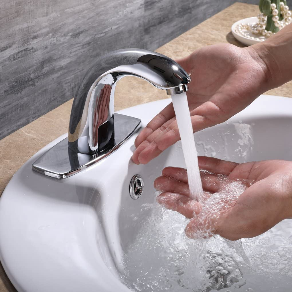 automatic sensor touchless bathroom sink faucet with hole cover plate buy sensor faucet touchless faucet hands free bathroom faucet product on