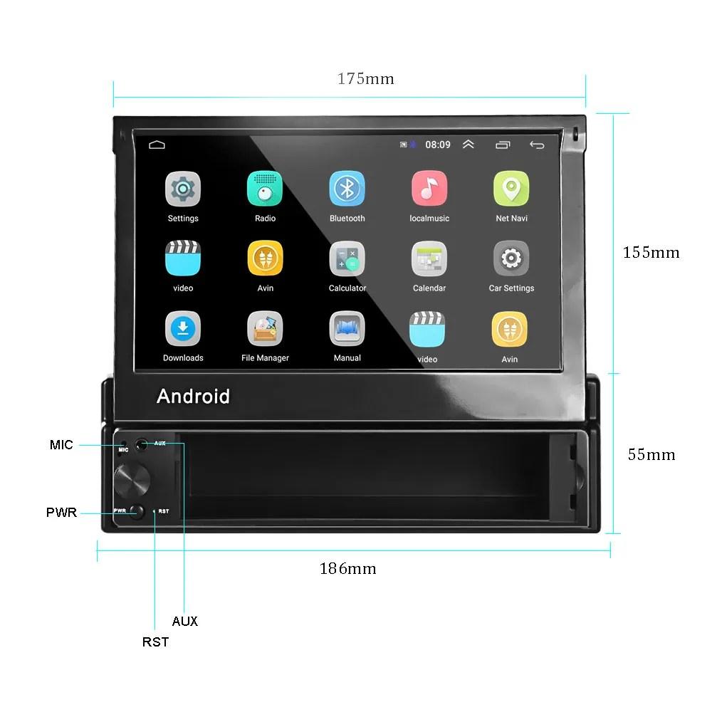 hiktop autoradio sous android 8 1 lecteur mp5 a ecran tactile multimedia avec gps retractable en wifi 1 din 7 buy autoradio autoradio
