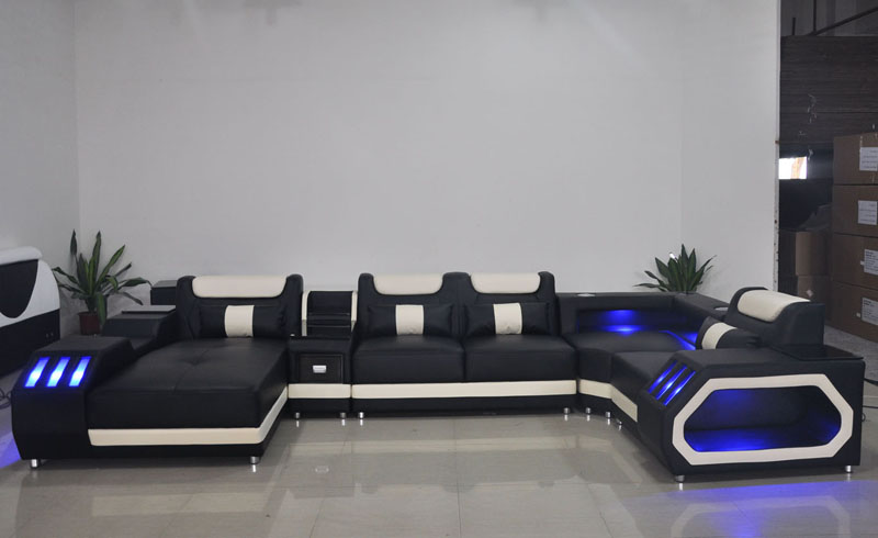 H6651a3f03ab84cc1837c473ebd2a4da5K Custom made modern design LED lights Music player living room sofa set leather sofa
