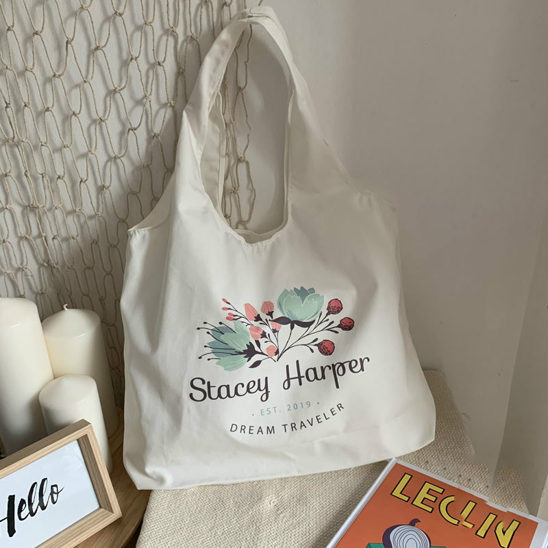 Custom Canvas Tote Shopping Bag With Custom Printed Logo