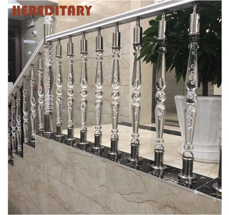 Clear Acrylic Staircase Pillar Baluster Handrail For Decoration   Clear Handrails For Stairs   Steel   Clear Acrylic   Wood   Riser   Metal