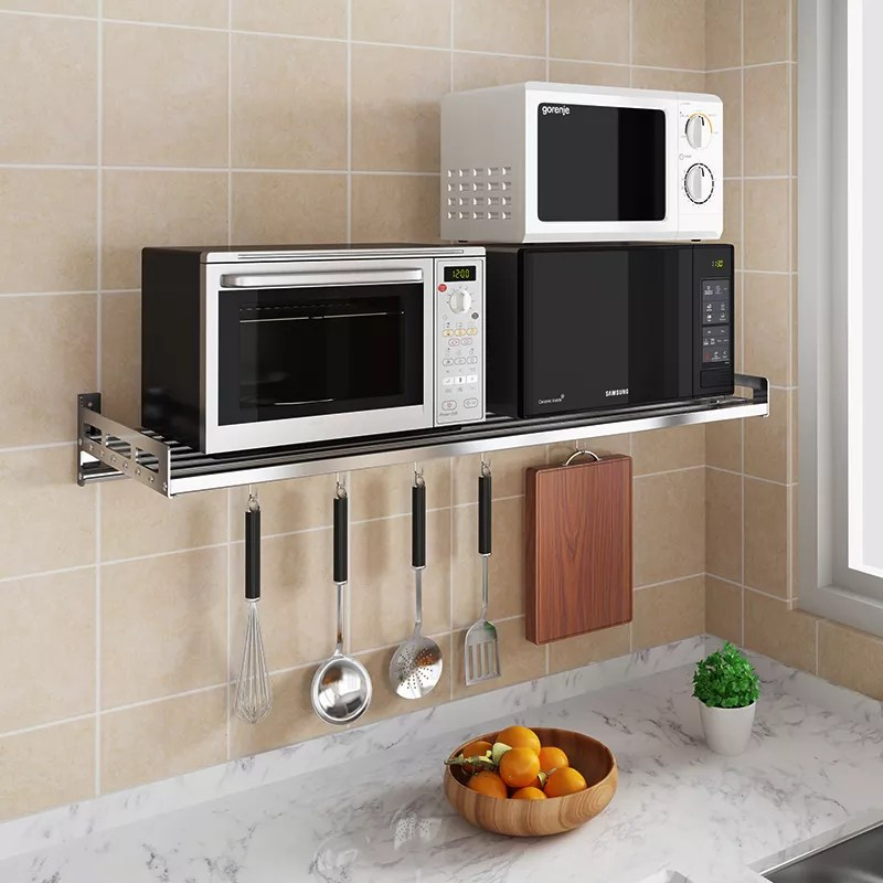 stainless steel metal kitchen shelf wall mounted rack microwave oven stand buy kitchen wall divider kitchen wall shelf multifunctional wall mounted