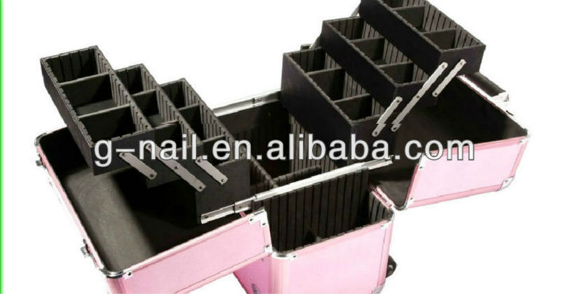 Black Pink Professional Beauty Makeup Trolley Cosmetic Case Box Nail Art Multilayer Large