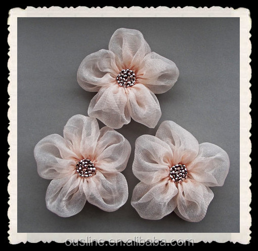 Pale Pink Fabric Flowers Handmade Appliques Embellishments