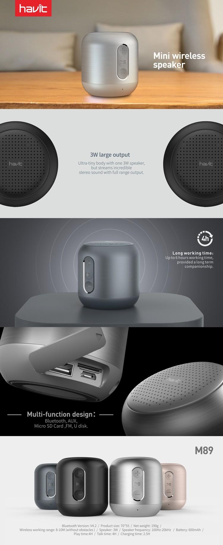 HAVIT M89 Super Bass Subwoofer Metal Mini Bluetooth Speaker, View Bluetooth  Speaker, HAVIT Product Details from Guangzhou Havit Technology Co., Ltd. on  Alibaba.com