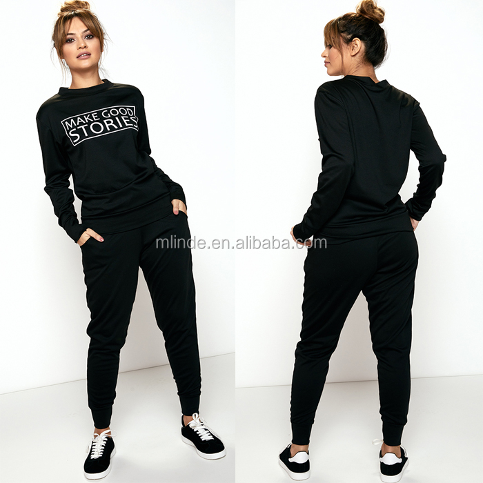 Women Cheap Fashion Tracksuit Black Plain Loungewear Set Casual Tech     Women Cheap Fashion Tracksuit Black Plain Loungewear Set Casual Tech Fleece  Polyester Elastane Tracksuits Designs   Buy Tech Fleece Tracksuit Women