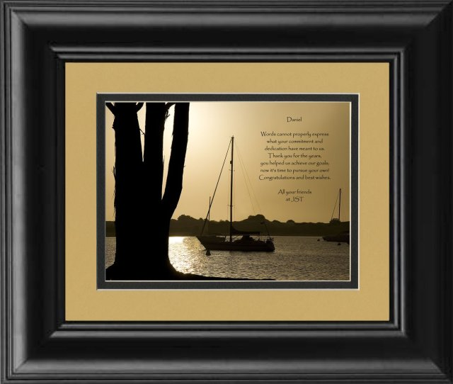 Framed Personalized Coworker Or Employee Retirement Gift Boats At Dusk Photo With Retirement Appreciation Poem